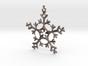 Snow Flake 5 Points - w Loopet - 7cm in Polished Bronzed Silver Steel