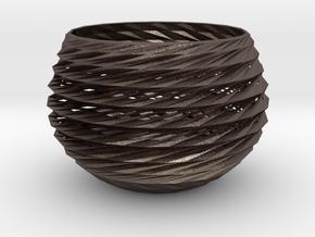 basket in Polished Bronzed Silver Steel