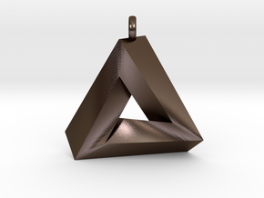 Penrose Triangle - Pendant (3cm | 2.5mm O-Ring) in Polished Bronze Steel
