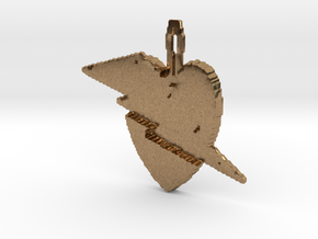 Lightening heart pendant in Natural Brass