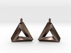 Penrose Triangle - Earrings (17mm | 1x mirrored) in Polished Bronze Steel