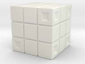 Rubik's Cube Inspired Die in White Natural Versatile Plastic