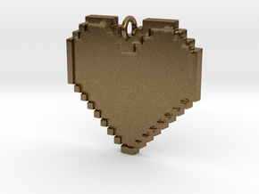 Pixel Heart Necklace Pendant or Ornament FIXED in Natural Bronze