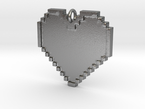 Pixel Heart Necklace Pendant or Ornament FIXED in Natural Silver