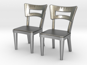 Pair of 1:48 Dog Bone Chairs in Natural Silver