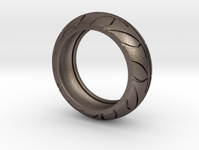 Street Bike Tread Ring Size 11 in Polished Bronzed Silver Steel