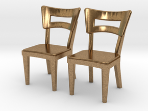 Pair of 1:48 Dog Bone Chairs in Natural Brass