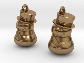 Snowman Earrings in Natural Brass
