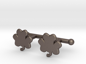 Shamrock Cufflinks Set in Polished Bronzed Silver Steel