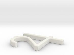 """Jupiter Symbol Pendant 1.5"""" in White Natural Versatile Plastic"""