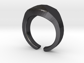 Heavy Ring model 1.1 (size 52: 16.5mm) in Polished and Bronzed Black Steel
