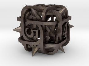 Thorn d6 Ornament in Polished Bronzed Silver Steel