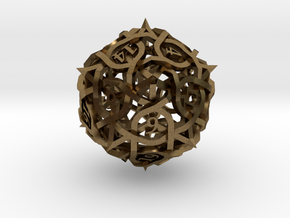 Thorn d20 Ornament in Natural Bronze