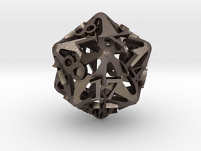 Pinwheel d20 Ornament in Polished Bronzed Silver Steel
