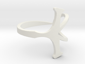 Size 9 Open Ankh Ring in White Strong & Flexible