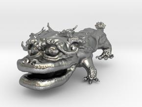 Dragon Dog v01 6cm in Natural Silver