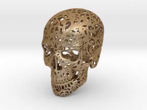 Mini Skull v2 - 25mm in Matte Gold Steel