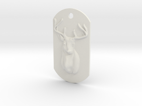 Dog Tag Deer Head in White Natural Versatile Plastic