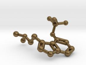 Psilocybin Molecule Keychain Necklace in Natural Bronze
