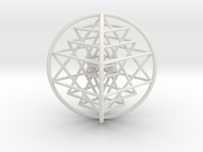 "3D Sri Yantra 4 Sided Optimal 3"" in White Natural Versatile Plastic"