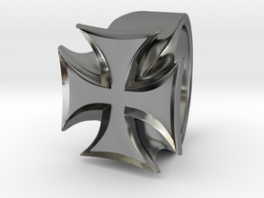 Iron Cross Ring in Polished Silver