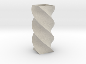Twisted Poly 4 Cornered Pencil Cup in Sandstone