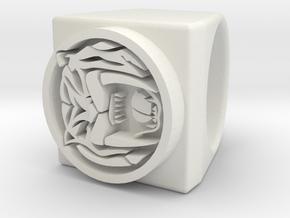 Lion Ring in White Natural Versatile Plastic