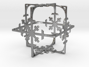 Snowflake Cube (Christmas Tree bauble?) in Natural Silver
