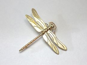 Dragonfly Brooch/Pendant in Natural Brass