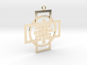 Square Circle Cross in 14K Yellow Gold