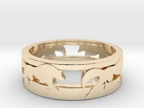 Run with the Wolves Dbl Band Sizes UK:N US:6 3/4 in 14K Yellow Gold: 6 / 51.5