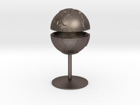 Tactile Miniature Earth With Stand in Polished Bronzed Silver Steel