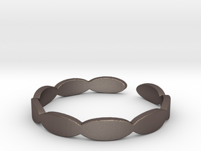 Banded Circles (Size 7) in Polished Bronzed Silver Steel