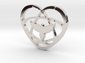Atom Star Heart Bird in Platinum