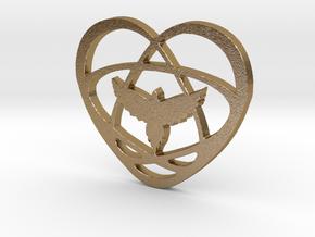 Atom Star Heart Bird in Polished Gold Steel