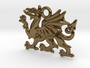 Welsh dragon charm in Polished Bronze