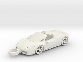 Ferrari 458 Italia Keychain in White Natural Versatile Plastic
