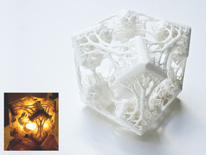 Cubic Woods - Fractal Sculpture & Light Cave in White Processed Versatile Plastic