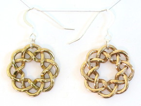 Woven Starburst Earrings - Small in Polished Brass