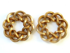 Woven Starburst Earrings - Small in Natural Bronze