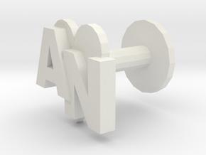 Initials cufflink in White Natural Versatile Plastic
