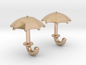 Umbrella Cufflinks in 14k Rose Gold