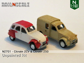SET 2x Citroën 2CV (N 1:160) in Frosted Ultra Detail