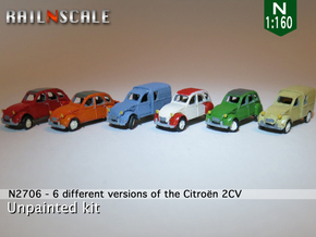SET 6x Citroën 2CV (N 1:160) in Smooth Fine Detail Plastic