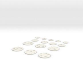 20-15mm Round Bases with 6mm inserts in White Natural Versatile Plastic