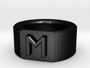 Flat-Faced Ring with Initial in Matte Black Steel