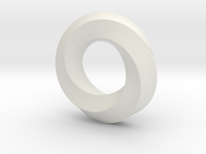 Mini (5,3) Mobius Loop in White Natural Versatile Plastic