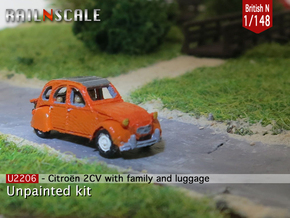 Citroën 2CV - family on tour (British N 1:148) in Smooth Fine Detail Plastic
