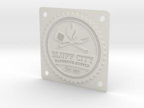 Bluff City Badge in White Natural Versatile Plastic
