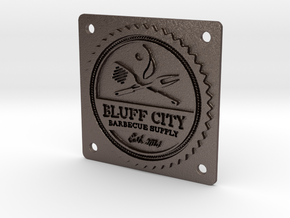"""Bluff City 2"""" Badge in Polished Bronzed Silver Steel"""